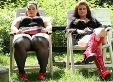 Two hot bbw feel bored in the green so they caught their gardener and jeered him badly with a gag-ball and flogging