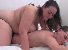 Horny fat grandma likes the feelin of hard cock sliding down her ass hole.