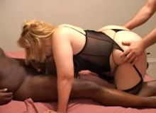 The fatties strip and get groped before the blonde goes over to the couch to get fucked hard